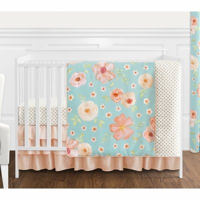 Watercolor Floral Turquoise and Peach Collection 4 Piece Bumperless Crib Bedding