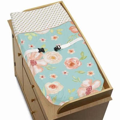 Watercolor Floral Turquoise and Peach Collection Changing Pad Cover