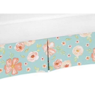 Watercolor Floral Turquoise and Peach Collection Crib Bed Skirt