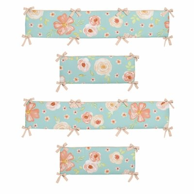 Watercolor Floral Turquoise and Peach Collection Crib Bumper Pad