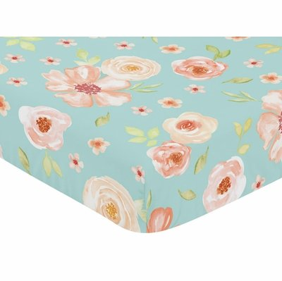 Watercolor Floral Turquoise and Peach Collection Crib Sheet