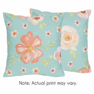 Watercolor Floral Turquoise and Peach Collection Decorative Accent Throw Pillows - Set of 2