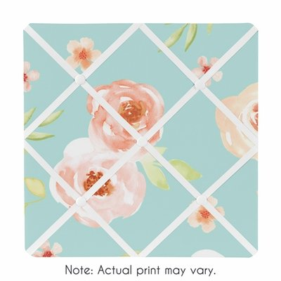 Watercolor Floral Turquoise and Peach Collection Fabric Memo Board