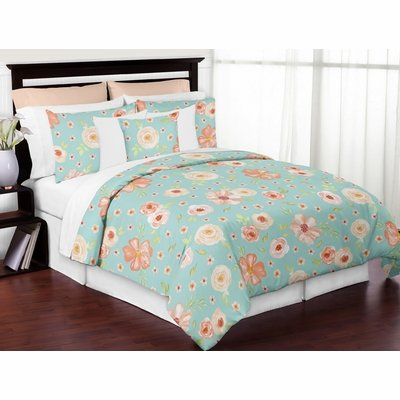 Watercolor Floral Turquoise and Peach Collection Full/Queen Bedding