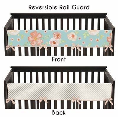 Watercolor Floral Turquoise and Peach Collection Long Rail Guard Cover