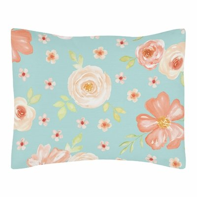 Watercolor Floral Turquoise and Peach Collection Pillow Sham