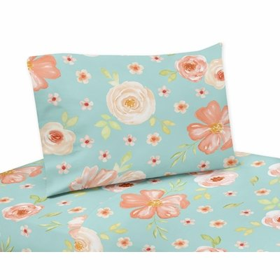 Watercolor Floral Turquoise and Peach Collection Queen Sheet Set