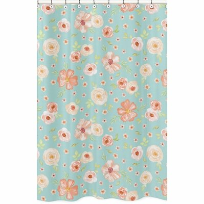 Watercolor Floral Turquoise and Peach Collection Shower Curtain