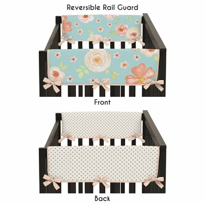 Watercolor Floral Turquoise and Peach Collection Side Rail Guard Covers - Set of 2