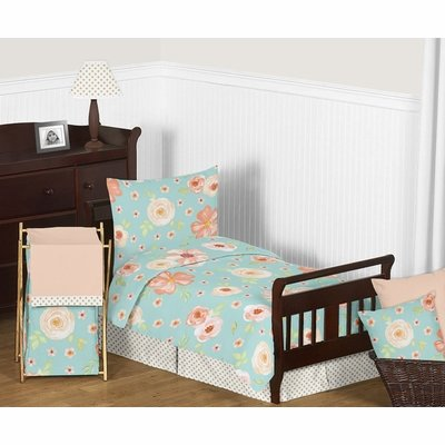 Watercolor Floral Turquoise and Peach Collection Toddler Bedding