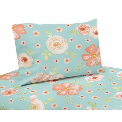 Watercolor Floral Turquoise and Peach Collection Twin Sheet Set