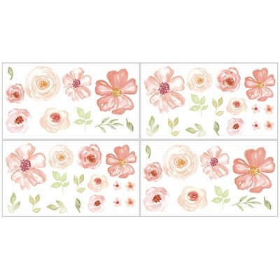 Watercolor Floral Turquoise and Peach Collection Wall Decals - Set of 4 Sheets