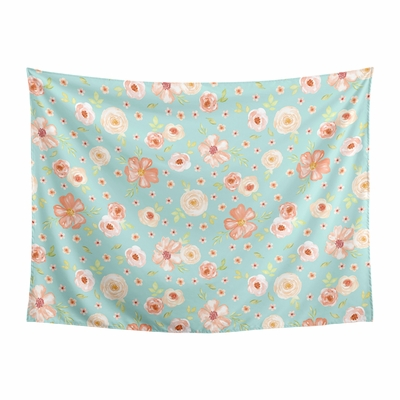 Watercolor Floral Turquoise and Peach Collection Wall Tapestry - 60in. x 80in.