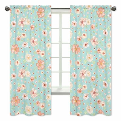 Watercolor Floral Turquoise and Peach Collection Window Panels - Set of 2