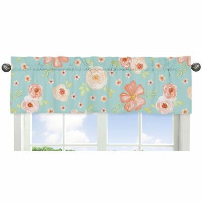 Watercolor Floral Turquoise and Peach Collection Window Valance