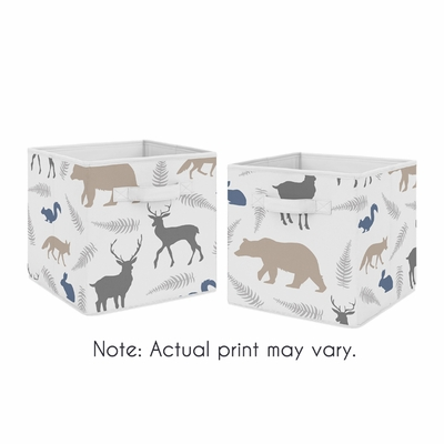 Woodland Animals Collection Foldable Fabric Storage Bins - Set of 2