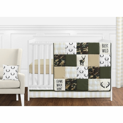 Woodland Camo Collection 11 Piece Bumperless Crib Bedding