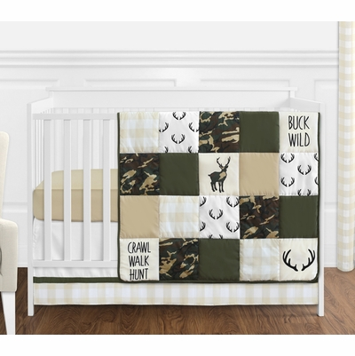 Woodland Camo Collection 4 Piece Bumperless Crib Bedding