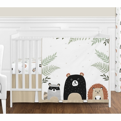 Woodland Pals Collection 4 Piece Bumperless Crib Bedding