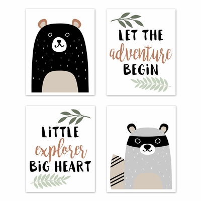 Woodland Pals Collection Wall Art Prints - Set of 4