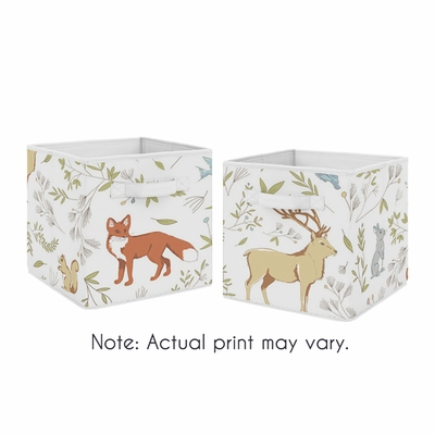 Woodland Toile Collection Foldable Fabric Storage Bins - Set of 2