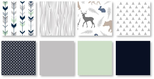 Woodsy Navy Mint And Grey Toddler, Woodsy Crib Bedding