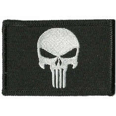 "2"" x 3"" Punisher Embroidered Morale Patch Velcro Backed"