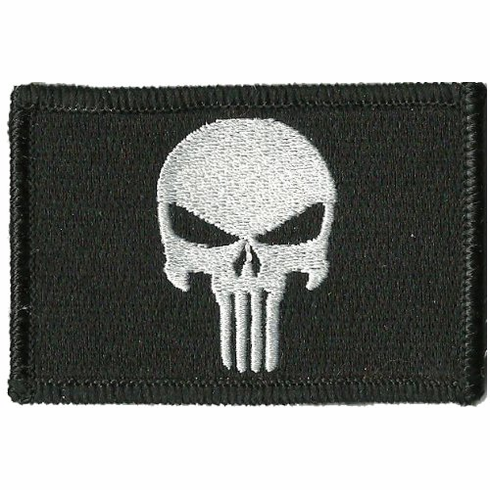 """2"""" x 3"""" Punisher Embroidered Morale Patch Velcro Backed"""