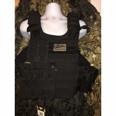 "Condor Black Gunner Carrier Join Or Die Patch & Molle & (2) Level III 10x12"" AR500 Plates"