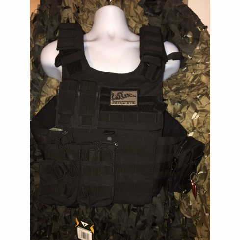 """Condor Black Gunner Carrier Join Or Die Patch & Molle & (2) Level III 10x12"""" AR500 Plates"""