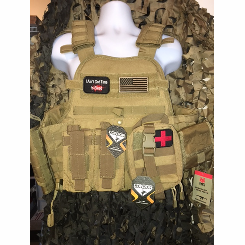 "Condor Coyote Aint Got Time To Bleed/Flag Carrier & Molle & (2) Level III 10x12"" AR500 Plates & Side Plates"