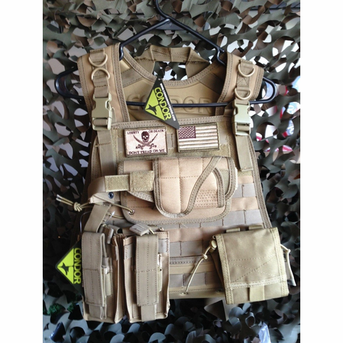 "Condor Coyote Plate Carrier With Molle and (2) 10 x 12"" Certified AR500 NIJ Compliant Plates"