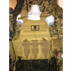 "Condor Coyote Punisher Kangaroo Carrier & Molle & (2) Level III 10x12"" AR500 Plates & Side Plates"