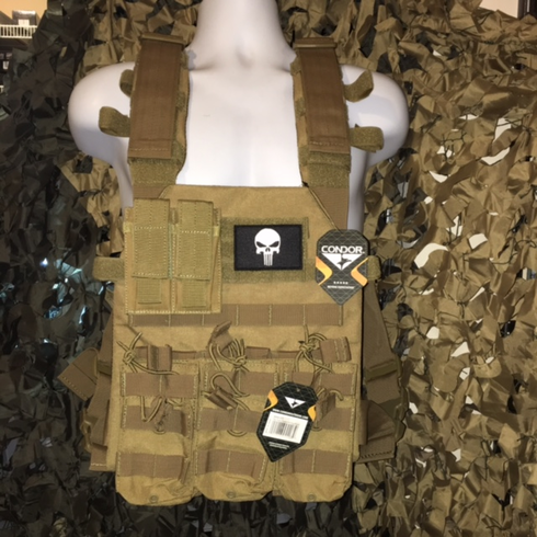 """Condor Coyote Sentry Punisher Plate Carrier With Molle and (2) 10 x 12"""" Certified AR500 NIJ Compliant Plates"""