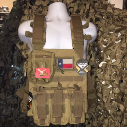 """Condor Coyote Sentry Texas Flag Plate Carrier With Molle and (2) 10 x 12"""" Certified AR500 NIJ Compliant Plates"""