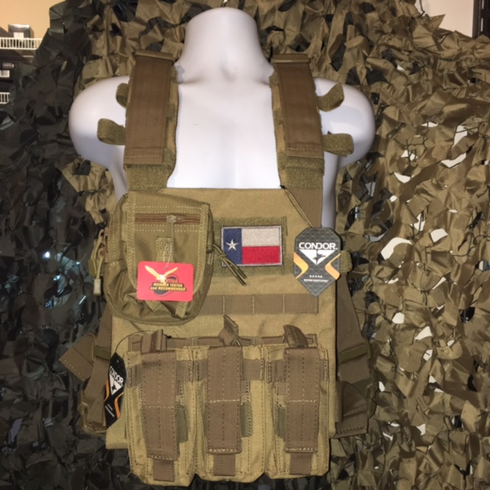 "Condor Coyote Sentry Texas Flag Plate Carrier With Molle and (2) 10 x 12"" Certified AR500 NIJ Compliant Plates"