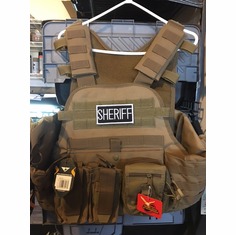 """Condor Coyote Sheriff Carrier & Molle & (2) Level III 10x12"""" AR500 Plates & Side Plates"""