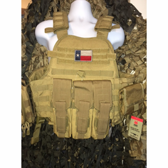 "Condor Coyote Texas Flag Carrier & Molle & (2) Level III 10x12"" AR500 Plates & Side Plates"
