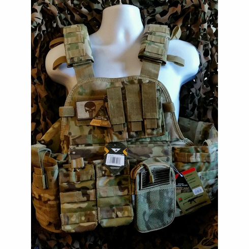 """Condor Defender Multicam Plate Carrier With Molle and (2) 10 x 12"""" Certified AR500 NIJ Compliant Plates & Side Plates, All Molle Shown Included! Loaded Multicam Rig! **HOT**"""