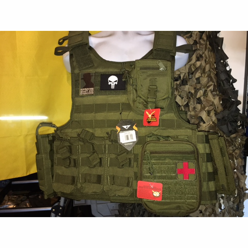 "Condor Defender OD Punisher & Hearbreak Ridge Patch 2XL Plate Carrier 2XL-5XL & (2) 10x12"" AR500 Plates & 6x6"" Side Plates"