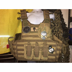 "Condor Defender Plate Carrier, 3% & Punisher Patches, Molle and (2) 11 x 14"" Certified Milspec 46100 NIJ Compliant Plates"
