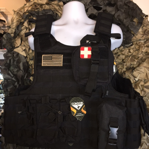 """Condor Defender Plate Carrier With Molle and (2) 10 x 12"""" Certified AR500 NIJ Compliant Plates & Side Plates!"""