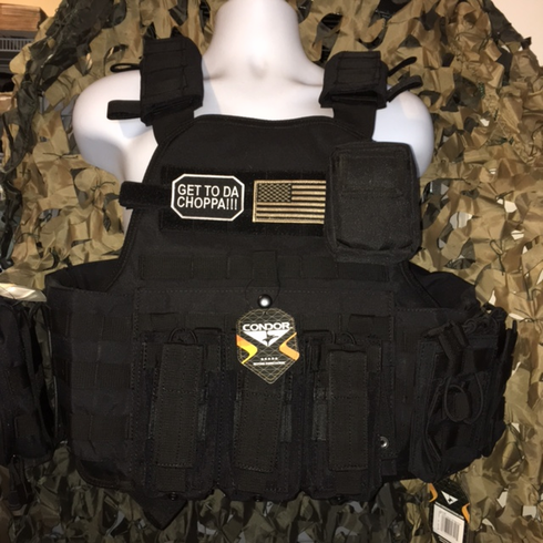 """Condor Get To The Choppa Carrier & Molle & (2) Level III 10x12"""" AR500 Plates & Side Plates"""