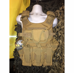 "Condor Gunner USMC Dark Brown & Molle & (2) Level III 10x12"" AR500 Plates"