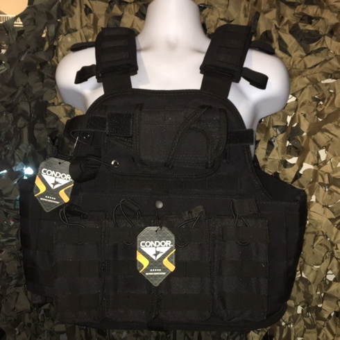 """Condor MOPC Black Plate Carrier With Molle and (2) 10 x 12"""" Certified AR500 NIJ Compliant Plates & Side Plates"""