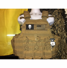 "Condor MOPC Punisher & Flag USMC Dark Brown & Molle & (2) Level III 10x12"" AR500 Plates"