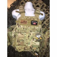 "Condor Multicam Ain't Got Time To Bleed/Flag Plate Carrier With Molle and (2) 10 x 12"" Certified AR500 NIJ Compliant Plates"