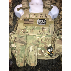 "Condor Multicam Get To Da Choppa! AK Kangaroo Plate Carrier With AK Molle and (2) 10 x 12"" Certified AR500 NIJ Compliant Plates"