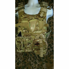 "Condor Multicam Plate Carrier With Molle and (2) 10 x 12"" Certified AR500 NIJ Compliant Plates & Side Plates, Includes All Molle Shown"