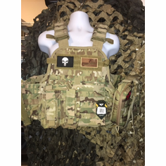 "Condor Multicam Punisher/Flag Plate Carrier With Molle and (2) 10 x 12"" Certified AR500 NIJ Compliant Plates"